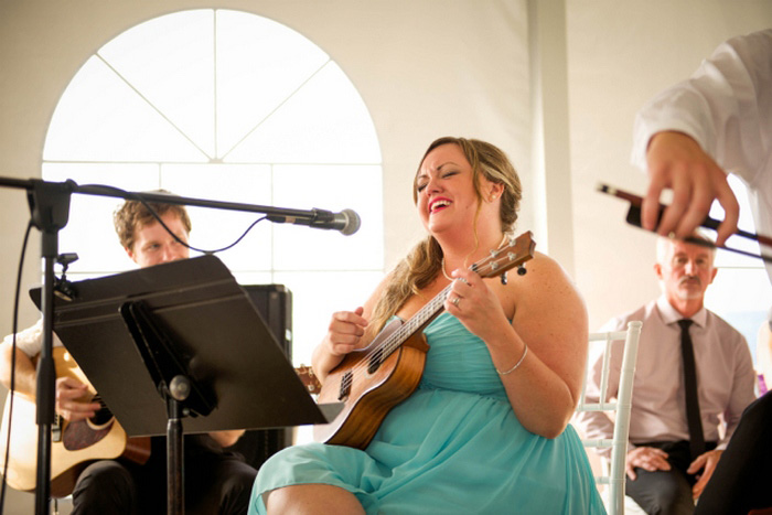 bridesmaid performing at wedding reception