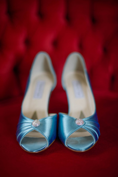 blue satin wedding shoes