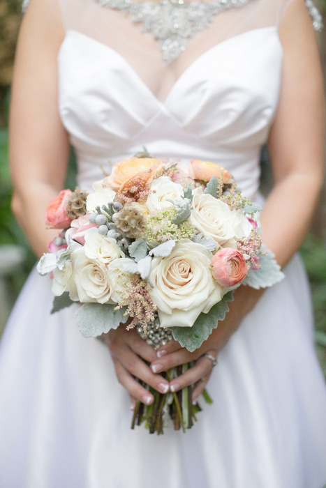 pale rose wedding bouquet