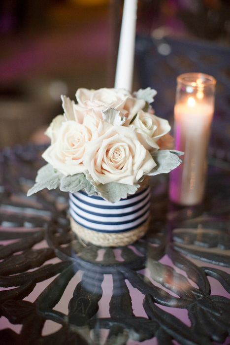 rose centerpiece in striped vase