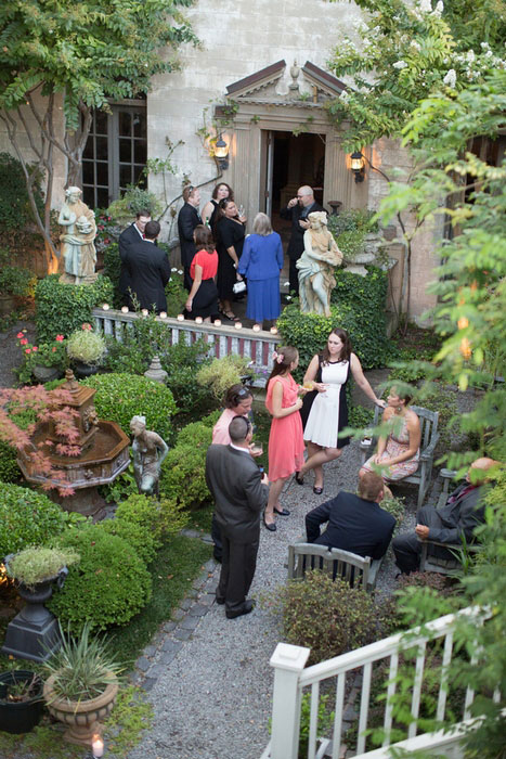 guests at outdoor garden wedding