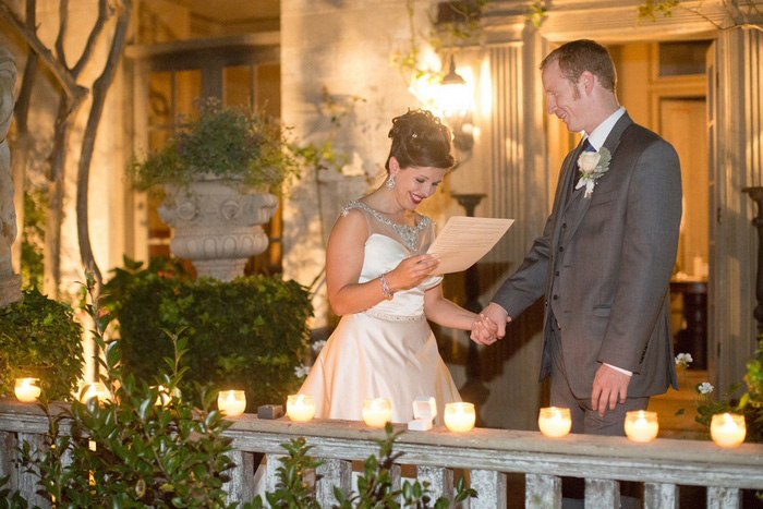 candlelit garden wedding ceremony