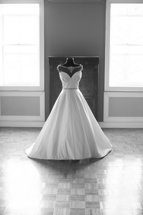 Vintage inspired wedding dress with crystal neckline