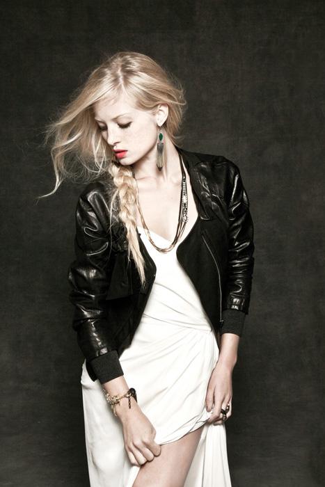 leather jacket wearing bride