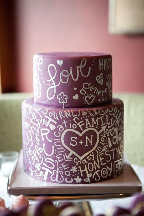 purple graffiti wedding cake