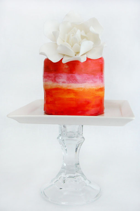 red watercolour cake