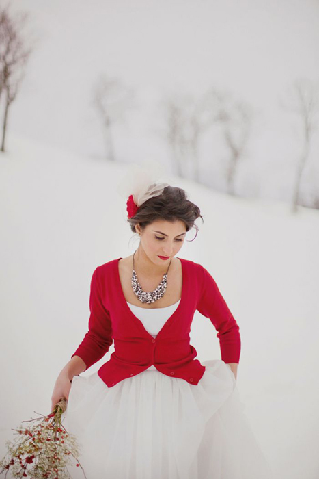 red wedding cardigan