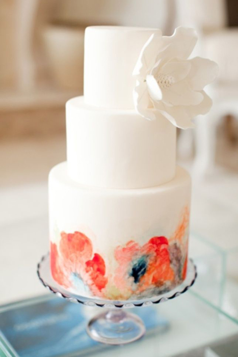 watercolour flower wedding cake