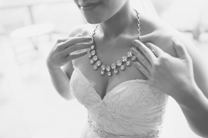 bride wearing crystal necklace