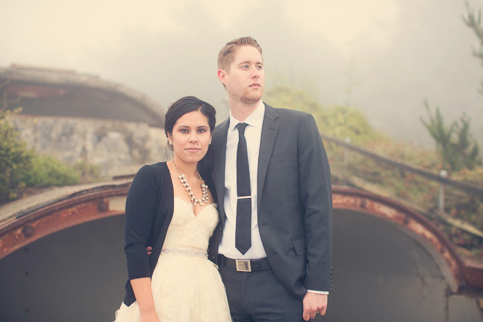 foggy bride and groom portrait