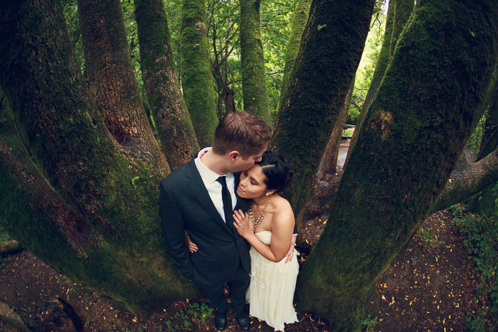 woodland bridal portrait