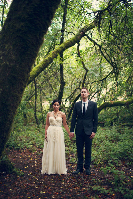 wedding portrait in the wood
