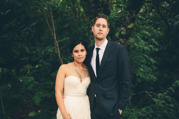 Bride and groom portrait in Muir Woods