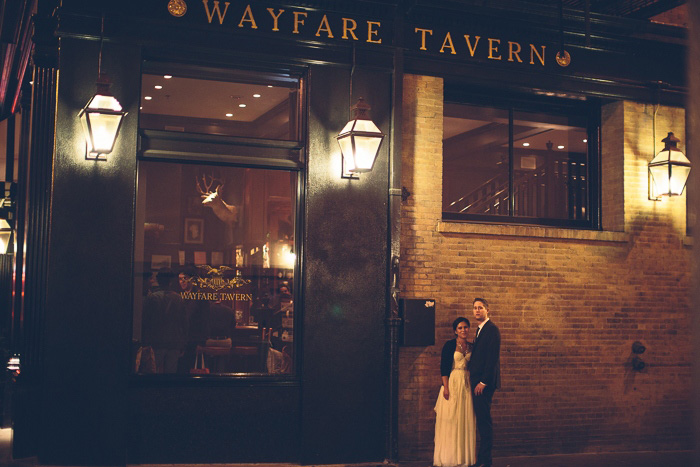 bride and groom outside Wayfare tavern