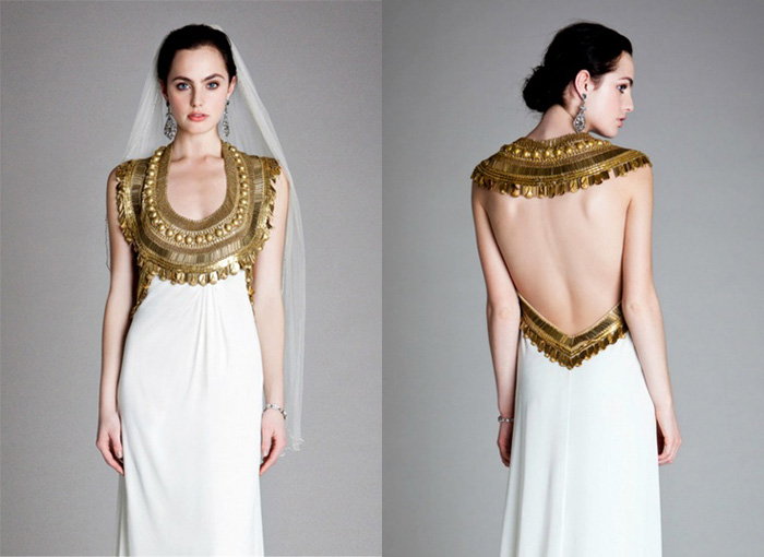 brass Temperley wedding dress