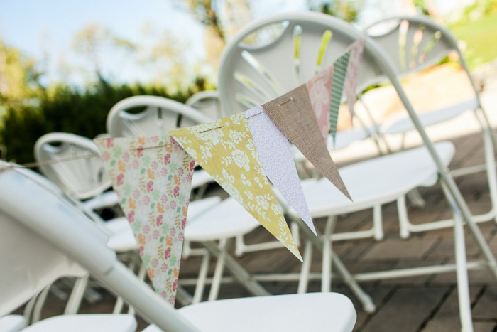 Wedding ceremony chair bunting