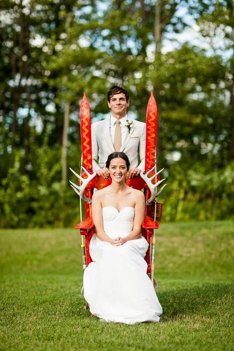bride and groom portrait with canadiana chair