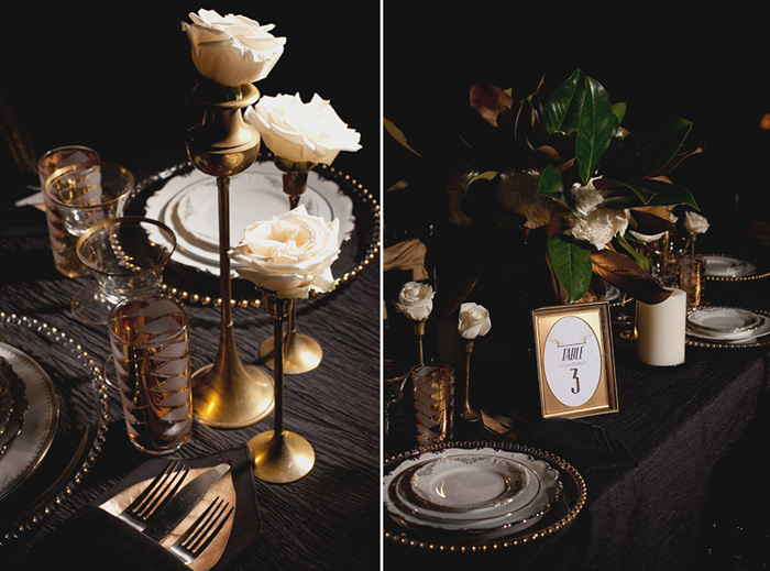 copper and brass table setting