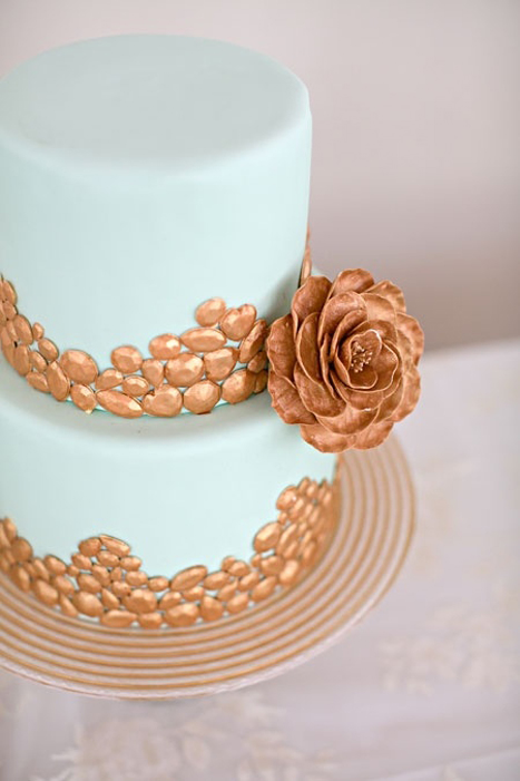 copper and teal wedding cake