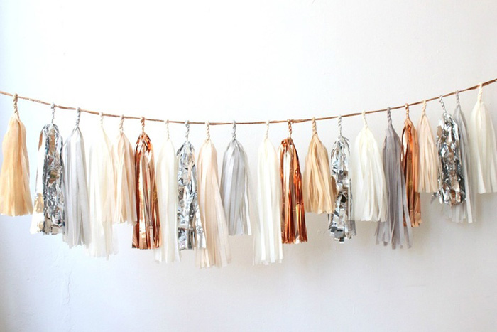 copper tassle garland