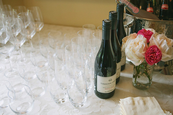 wine glasses set up for reception