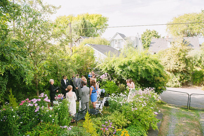 intimate backyard wedding ceremony