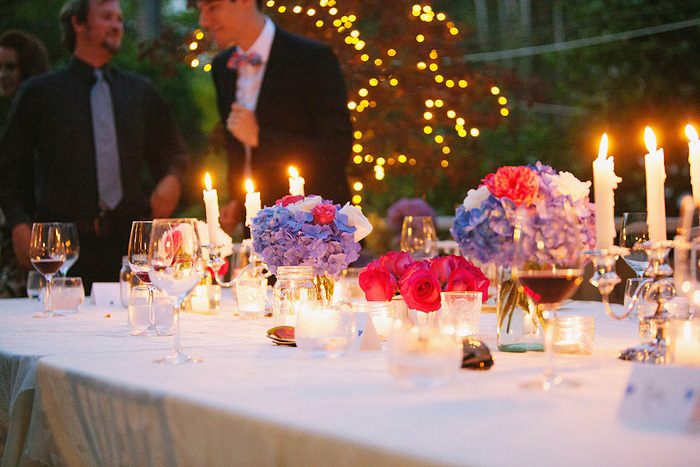 backyard wedding reception at night