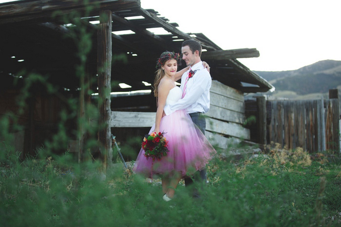bride and groom on the farm