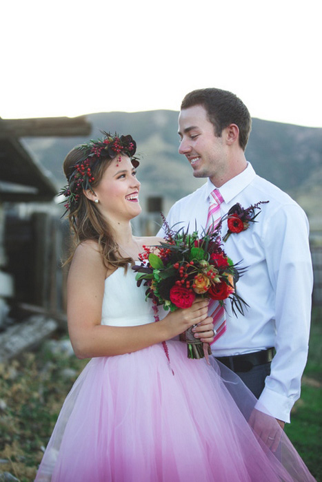 relaxed bride and groom portrait