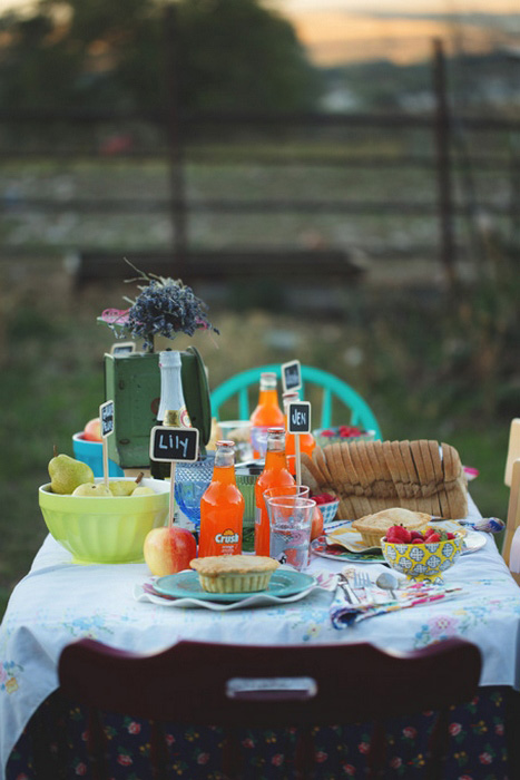 intimate outdoor farm wedding dinner