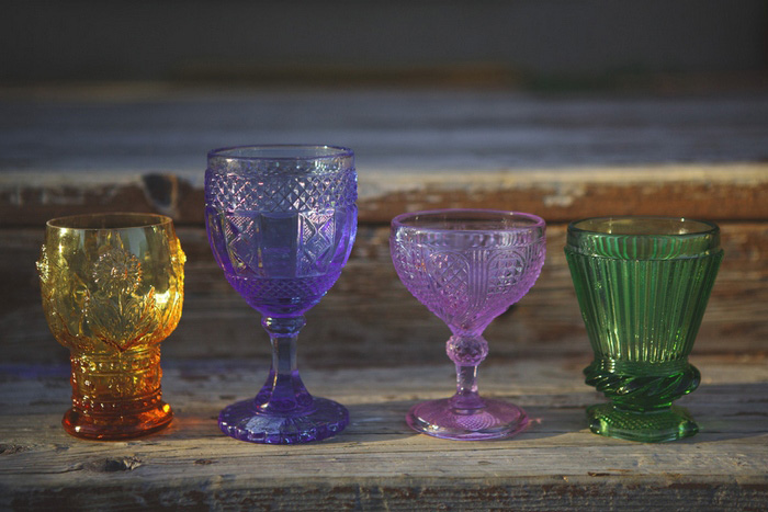 vintage colored glass wedding decor