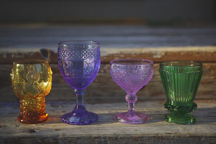 vintage colored glass wedding decor