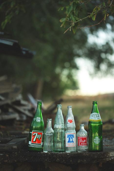 vinatge glass bottle wedding decor