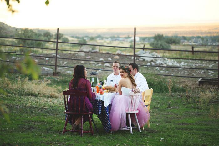 intimate farm wedding reception