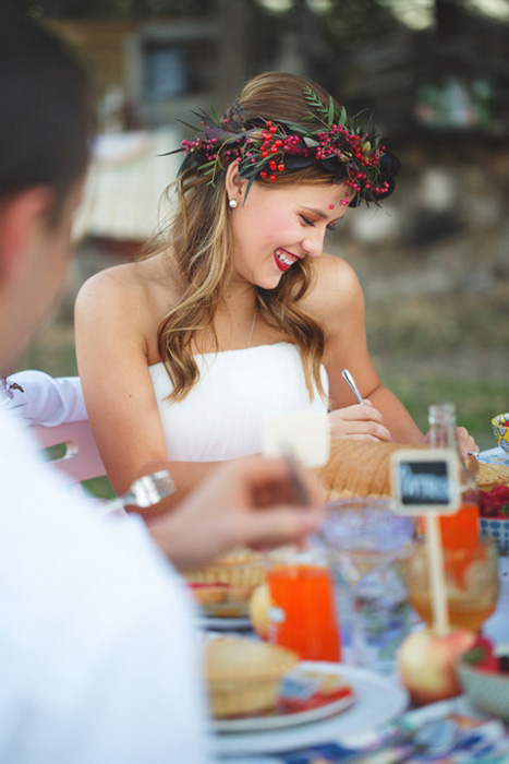 bride at recption dinner