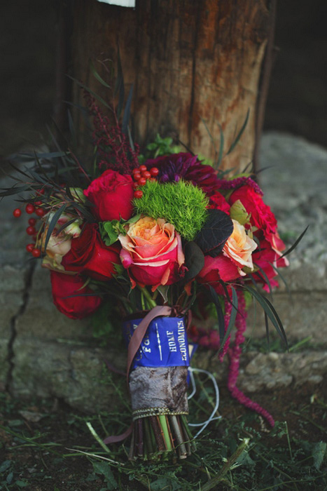 red, orange and green wedding bouquet
