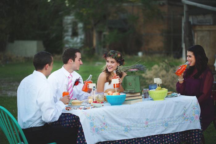 intimate outdoor farm dinner
