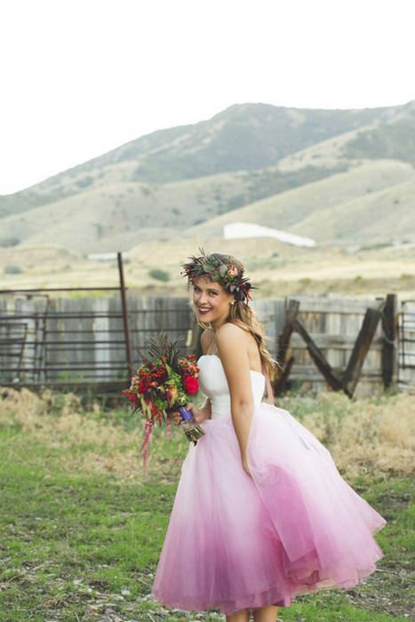 bride in pink ombre wedding dress