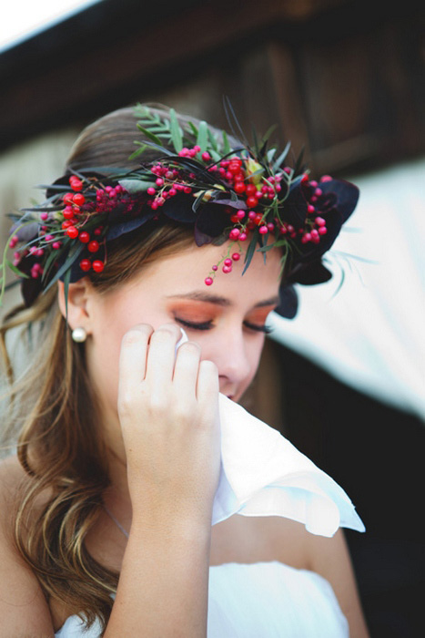 bride wiping away her tears