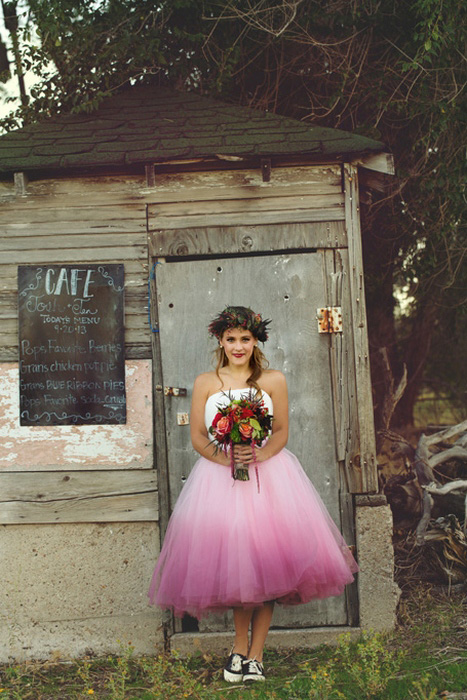 bride in pink ombre wedding dress