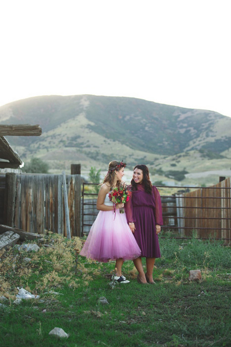 bride and maid of honor portrait