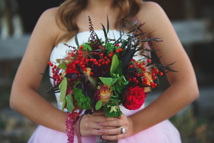 rustic green and red wedding bouquet