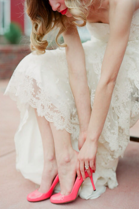Bright Shoes May Be Hidden For Most Of The Day But Little Glimpses Them Can Really Bring Your Wedding Colors Together They Are Another Way To Highlight