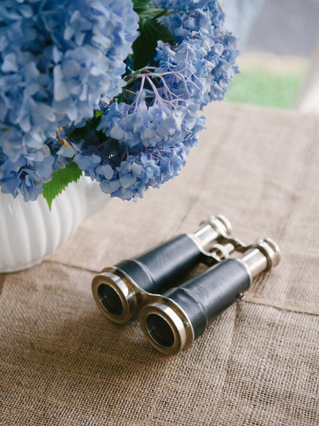 vintage binoculars as table decor