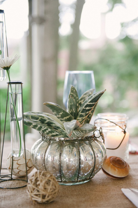 mercury glass planter as wedding decor