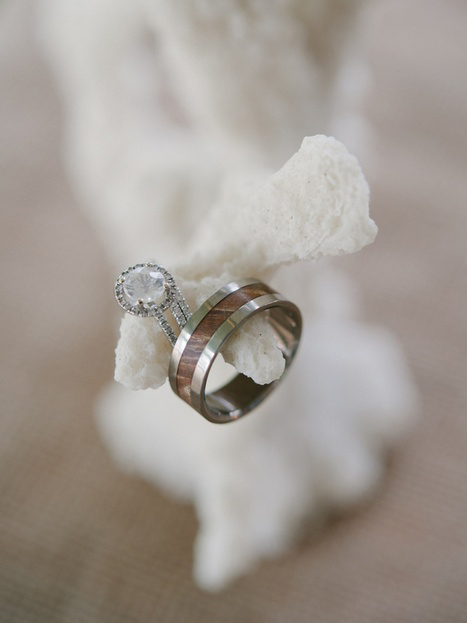 wedding rings on coral