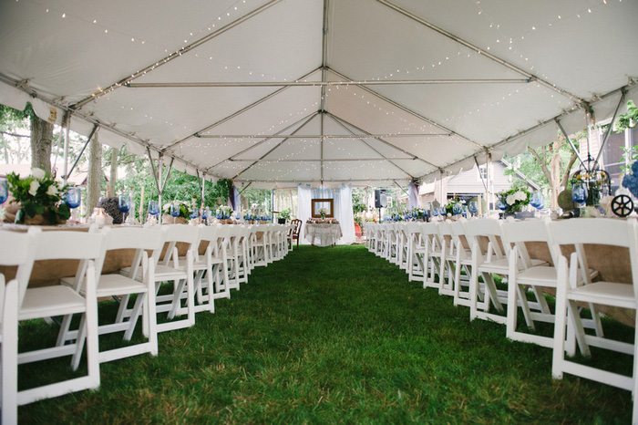 backyard tented wedding reception