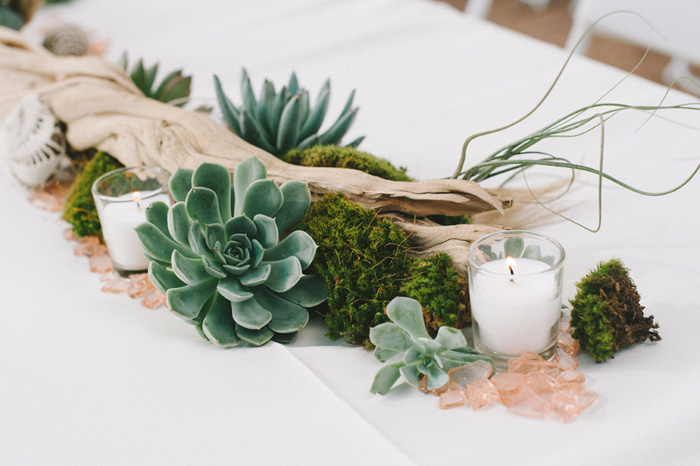 driftwood and succulent centerpiece
