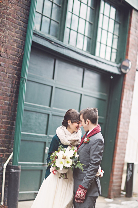 city winter wedding portrait