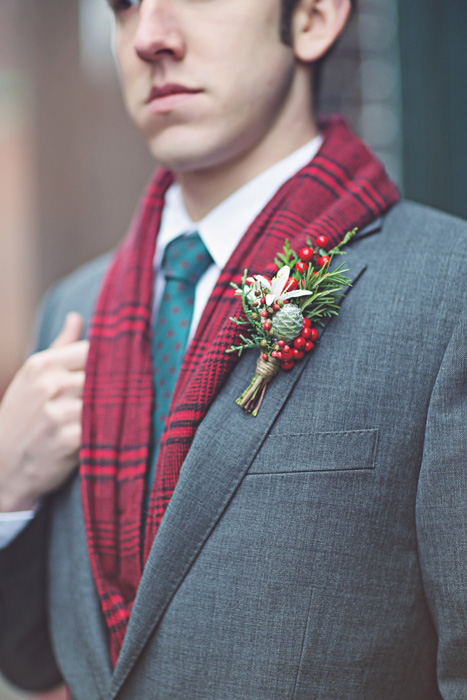 winter groom in red scarf